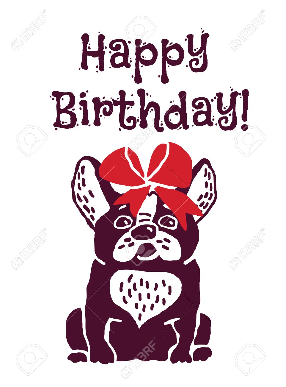 French bulldog with red bow happy birthday greeting card eps french bulldog with red bow happy birthday greeting card eps 8 stock vector kristyandbryce Gallery