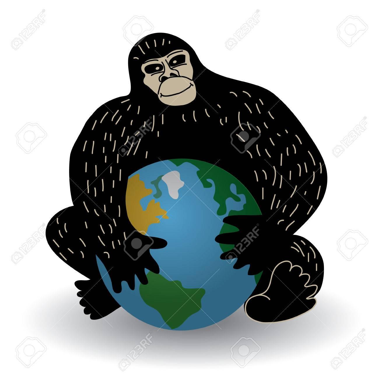 sitio de buena reputación 44bfa ed209 Gorila con la ecología crisis mundial o problema de política. ilustración  vectorial de color.