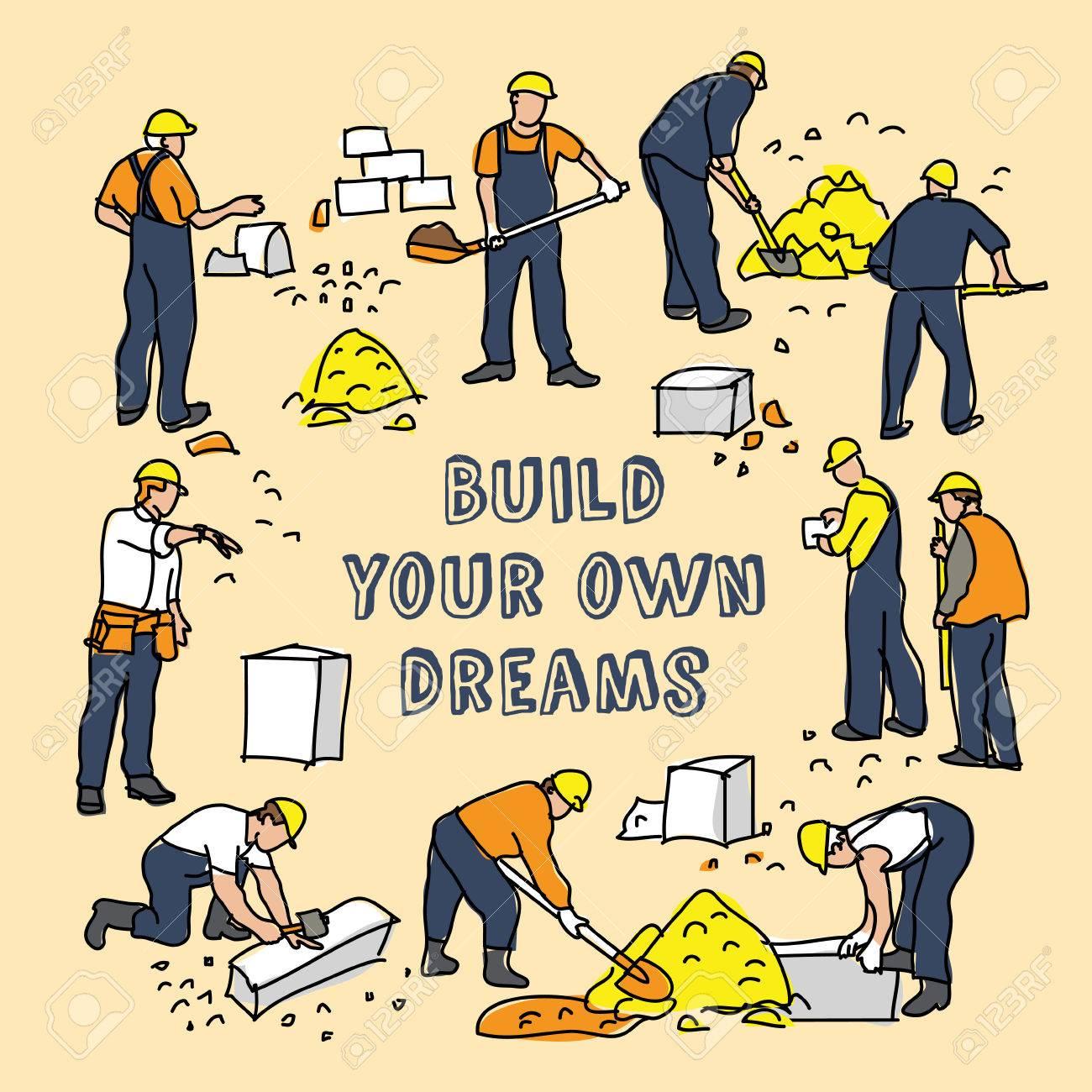 Bauen Sie Träume Rahmen Und Bauarbeiter Karte Unterschreiben. Farbe ...
