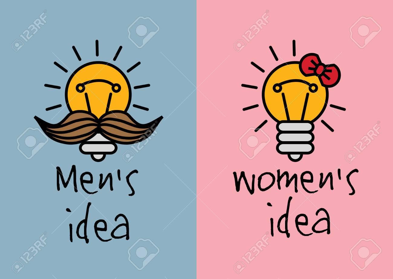 Hombre Y Mujer Ideas Con Gracia Creativa Iconos De Color ...