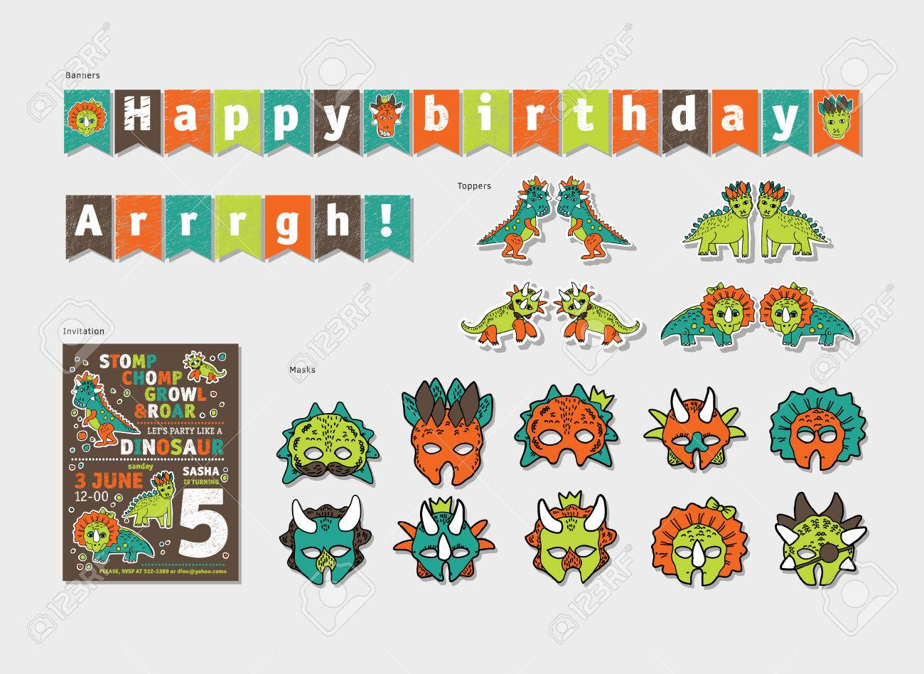 Dinosaurs Boy Birthday Party Decor Set. Color Vector Illustration ...