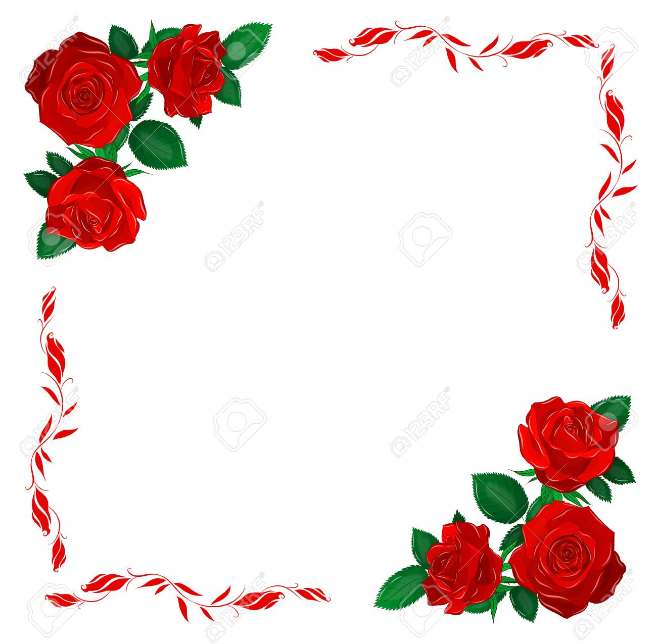 Red Rose Frame Royalty Free Cliparts Vectors And Stock Illustration Image 123617515