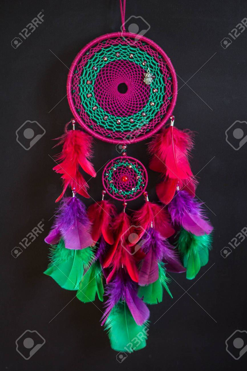 - Colorful Dreamcatcher Made Of Feathers Leather Beads And Ropes