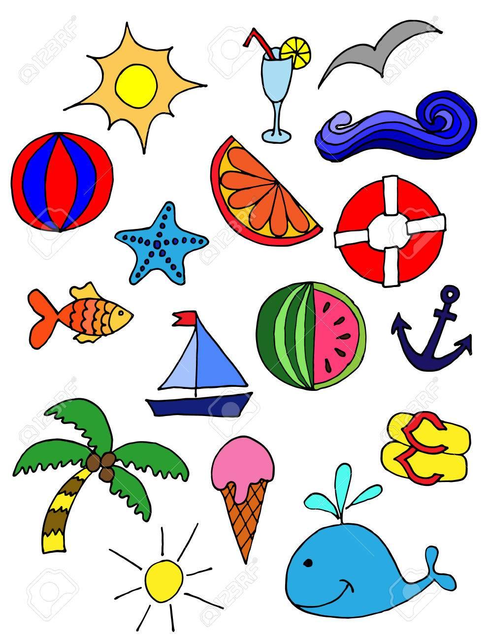 夏のシンボルでかわいいパターン太陽カクテル海手描きイラストの
