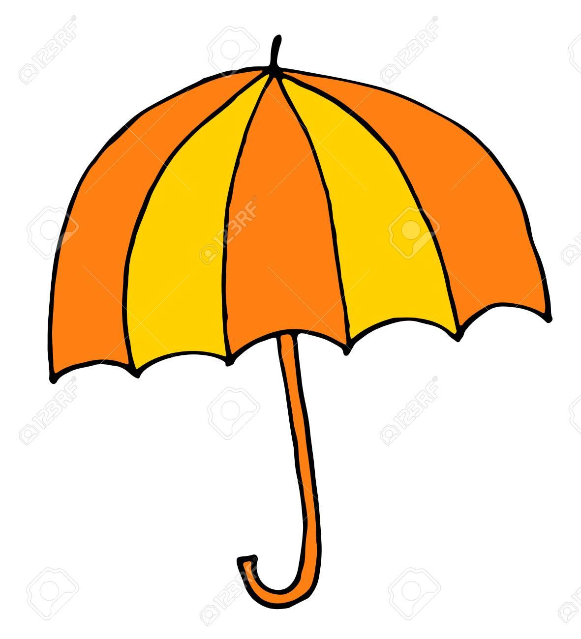 Banque dimages main de parapluie dessin illustration vectorielle de dessin animé croquis dans le style de doodle
