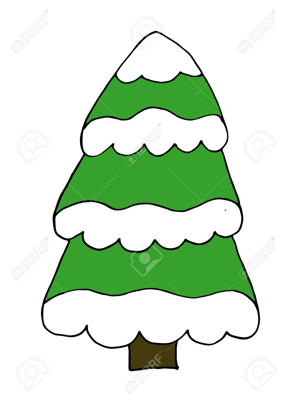 Christmas Tree With Snow Doodle Cartoon Hand Drawing Royalty Free