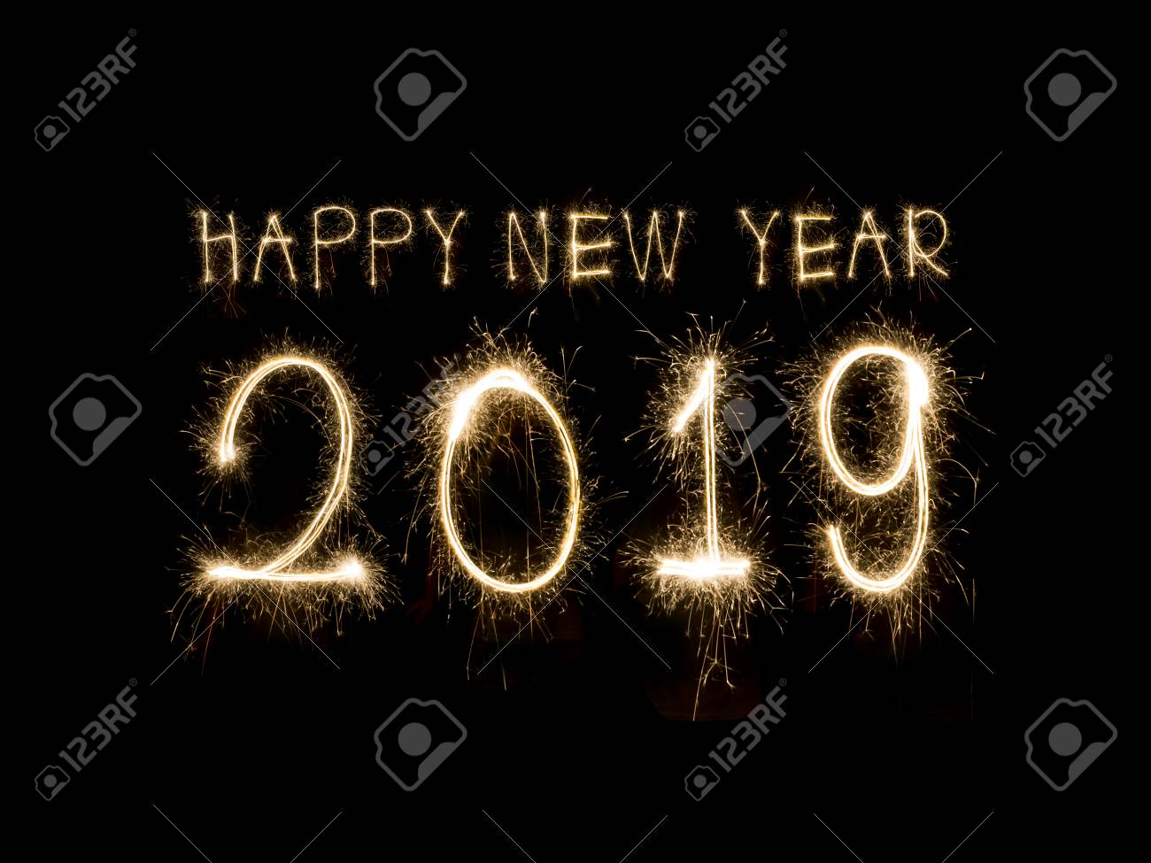 happy new year 2019 written with sparkle firework stock photo 89169585
