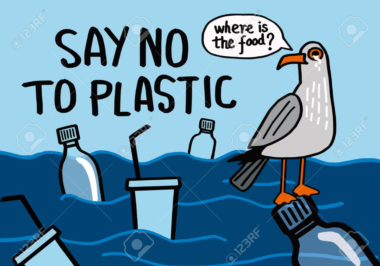 Say no to plastic. Motivational phrase. Vector illustration with lettering. - 115930798