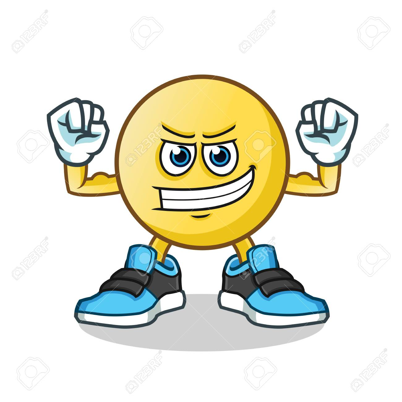 emoticon muscle mascot vector cartoon illustration royalty free