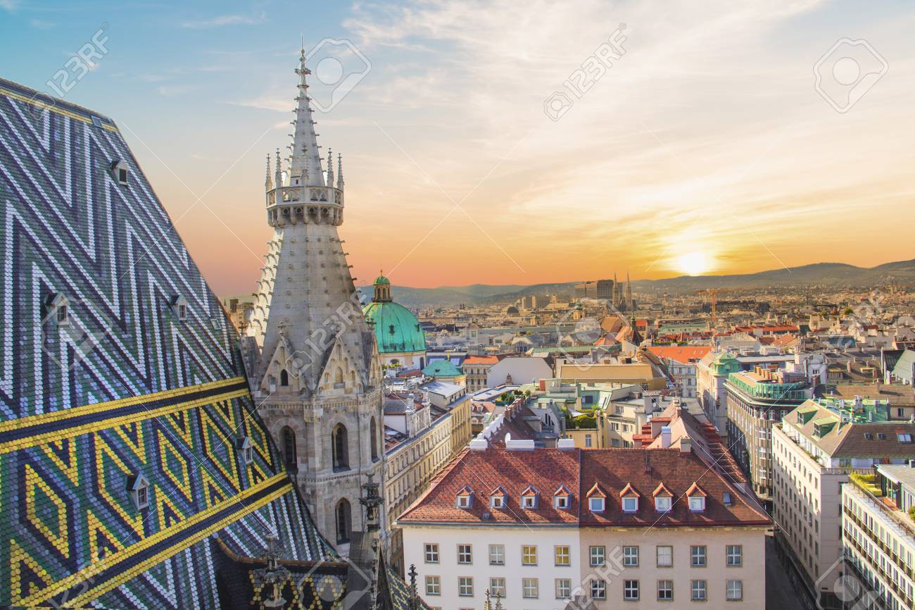 View of the city from the observation deck. Stephen's Cathedral in Vienna, Austria - 87650445