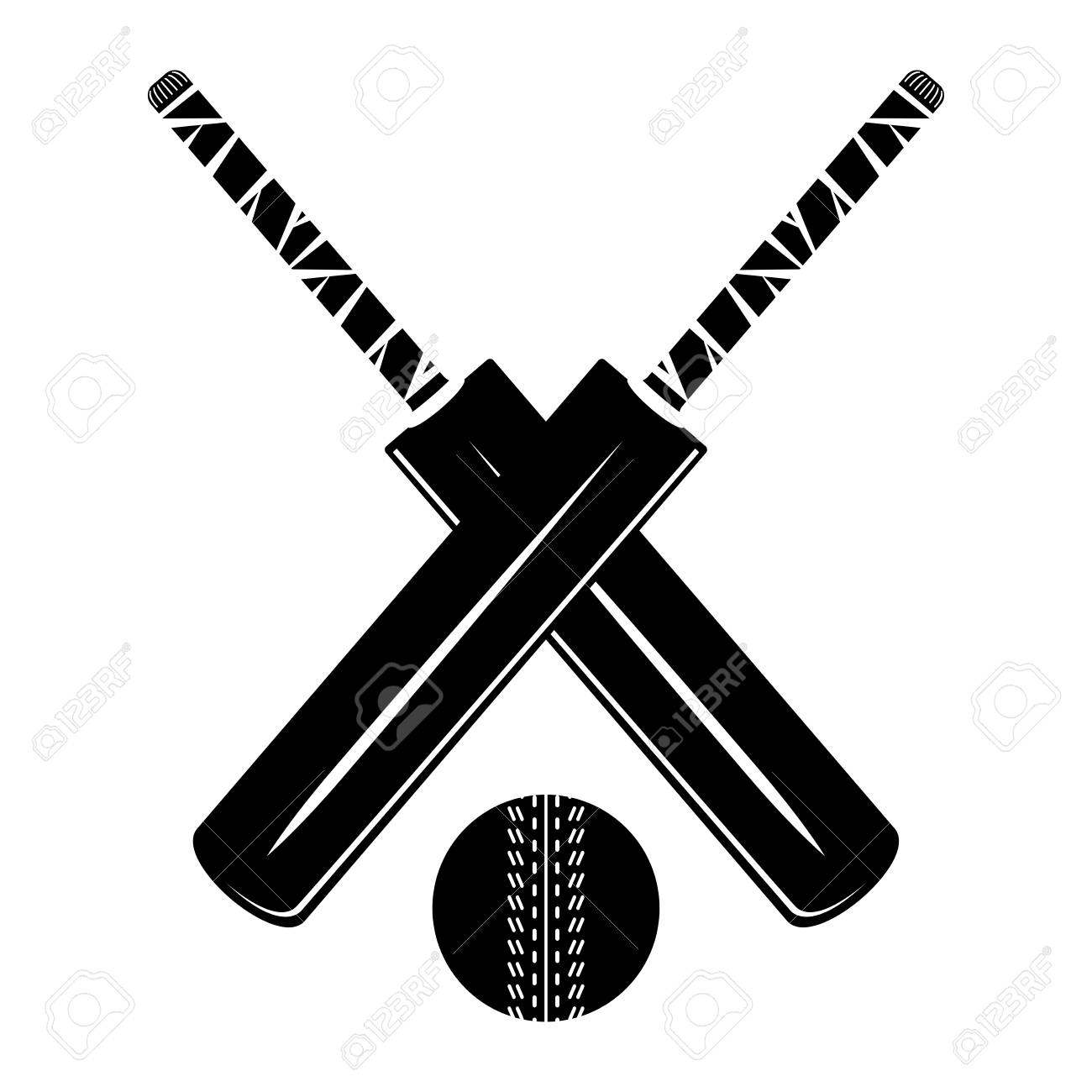 Isolated Cricket Bat And Ball On White Background Monochrome Royalty Free Cliparts Vectors And Stock Illustration Image 105413223