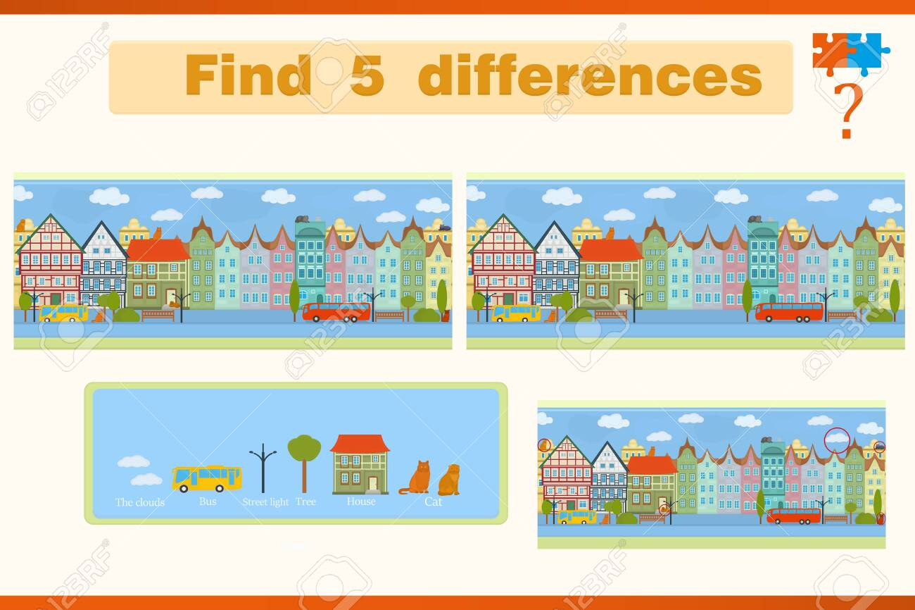Find the difference in a children's game with houses and cats on the street - 154401842