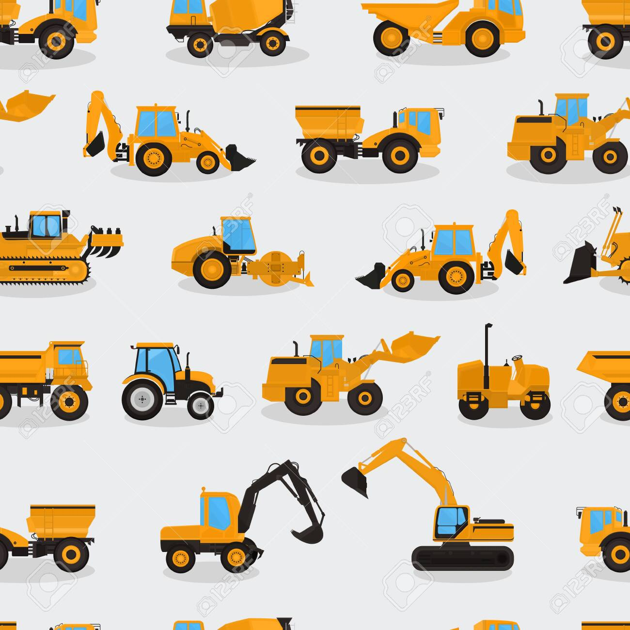 Seamless vector pattern with work machines and equipment on a light background. - 154502852