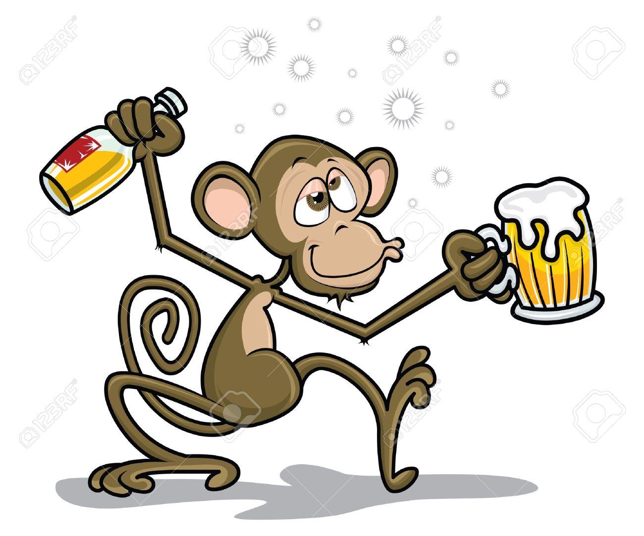 Drunk Monkey Stock Vector - 18085504