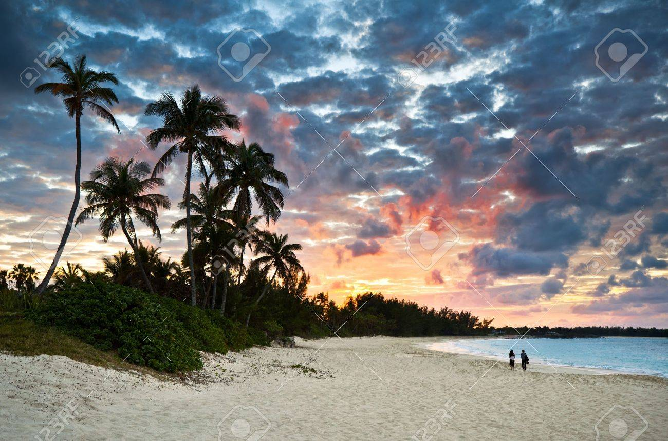 Tropical Caribbean White Sand Beach Paradise At Sunset With Palm Trees And Tourists Stock Photo