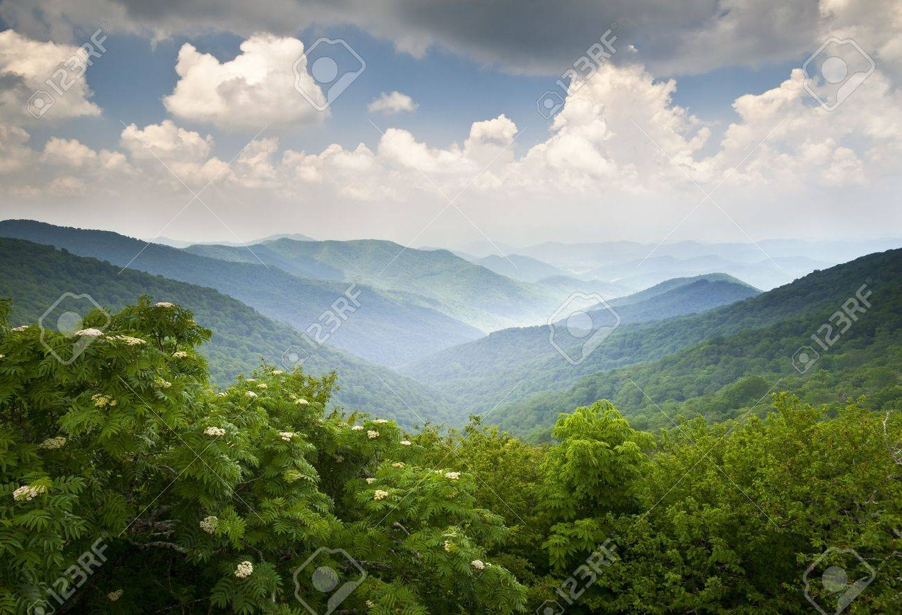 Blue Ridge Parkway Scenic Mountains Overlook Summer Landscape Asheville NC at Craggy Gardens in WNC Stock Photo - 12106525