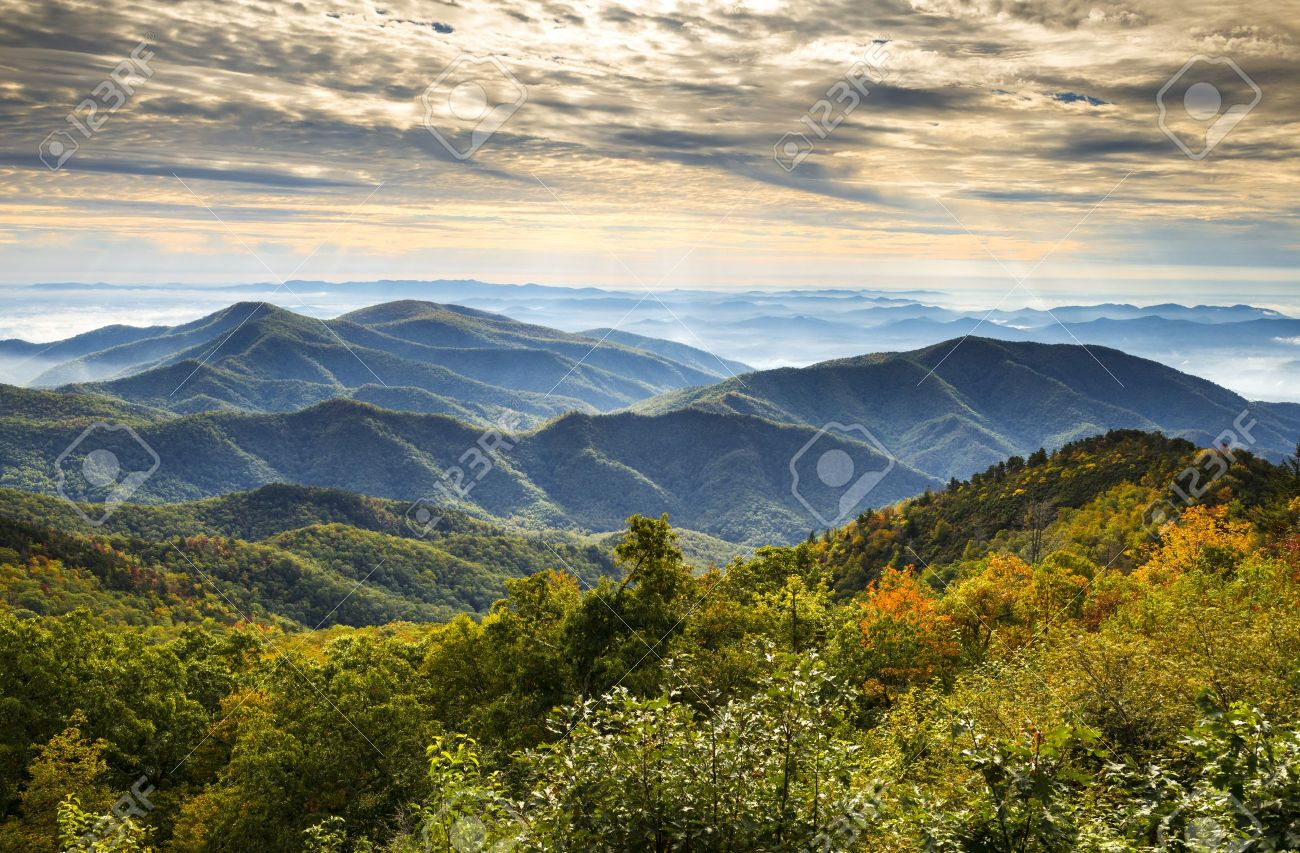 Blue Ridge Parkway National Park Sunrise Scenic Mountains Autumn