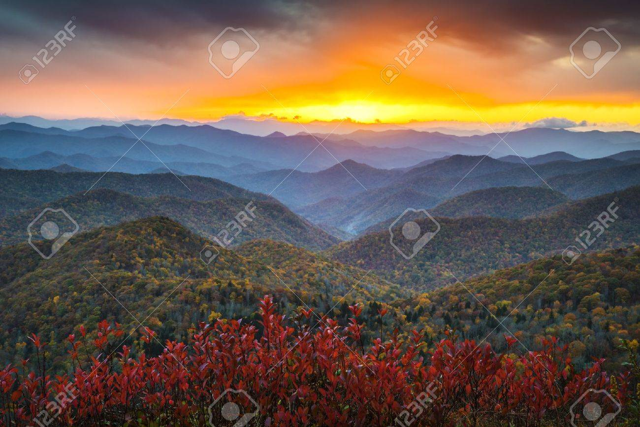 Blue Ridge Parkway Autumn Appalachian Mountains Sunset Western NC Scenic Landscape vacation destination Stock Photo - 17447160