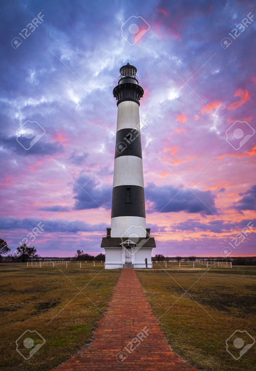 Bodie Island Lighthouse Cape Hatteras National Seashore Outer Banks NC blue and pink sunrise in Nags Head North Carolina Stock Photo - 19507945