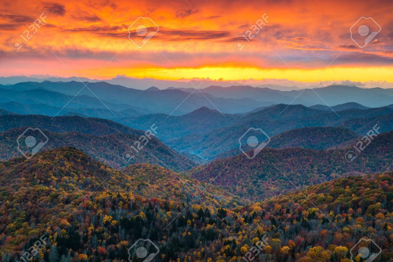 North Carolina Blue Ridge Parkway Mountains Sunset Scenic Landscape
