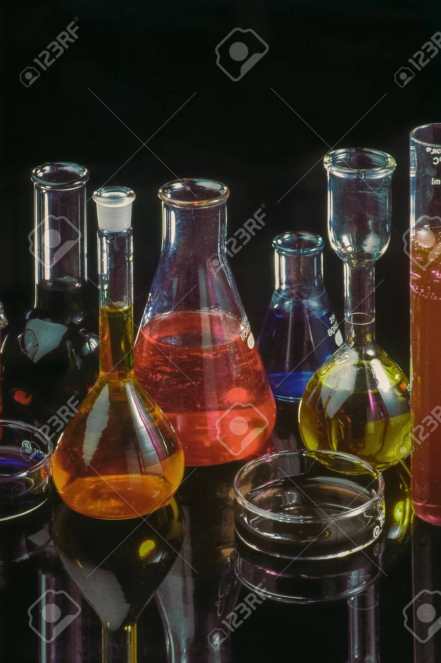 02-Jun-2008- Vintage photo Concepts colourful chemical in laboratory
