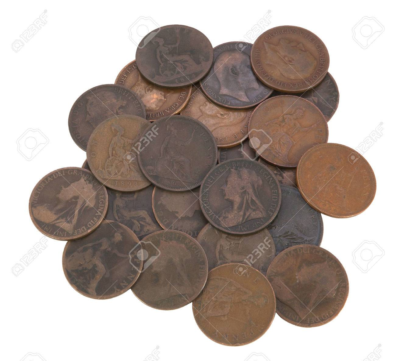 Pile Of Old Coins, Victorian, Edwardian, Georgian Pennies