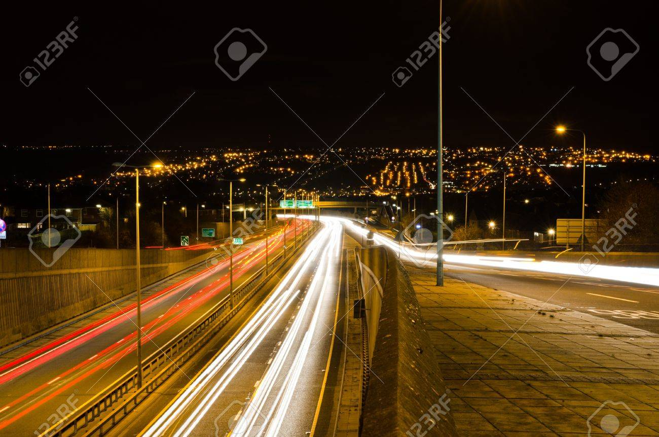Traffic light trails looking south on the Newcastle western bypass - 17661058