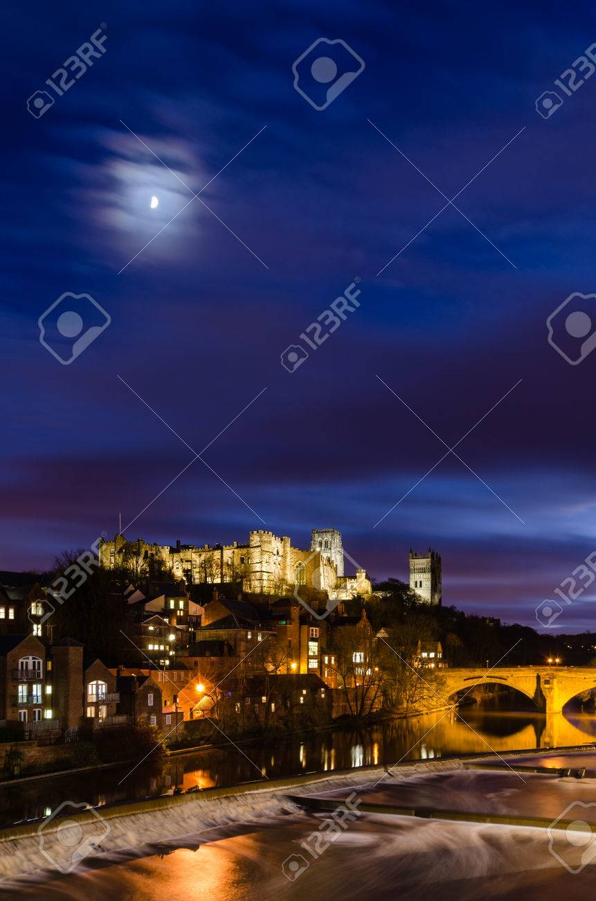Moon Above Durham City Skyline Which Is Dominated By Its Medieval