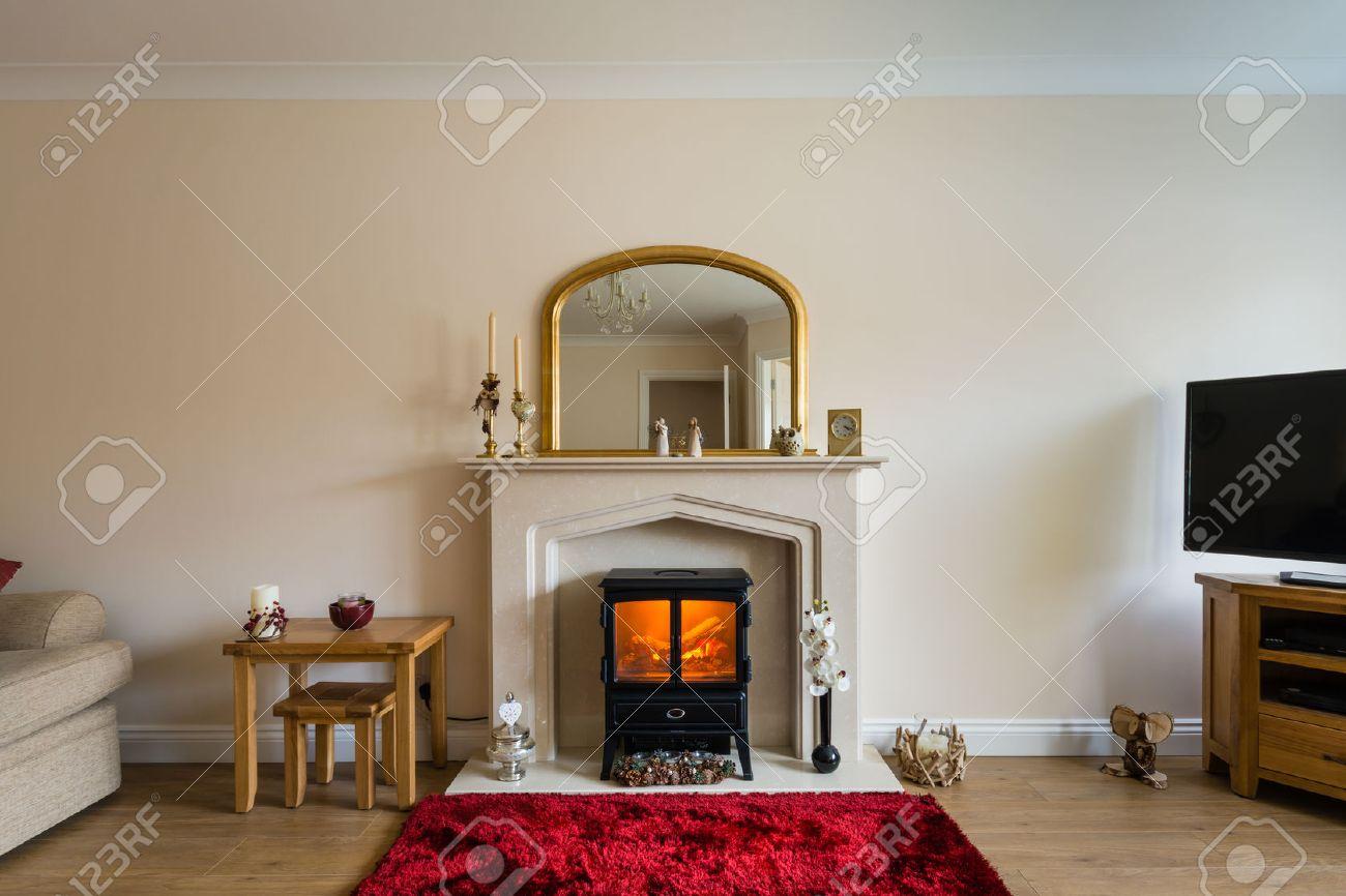 chimenea en el saln modern living room con estufa de lea en la chimenea como