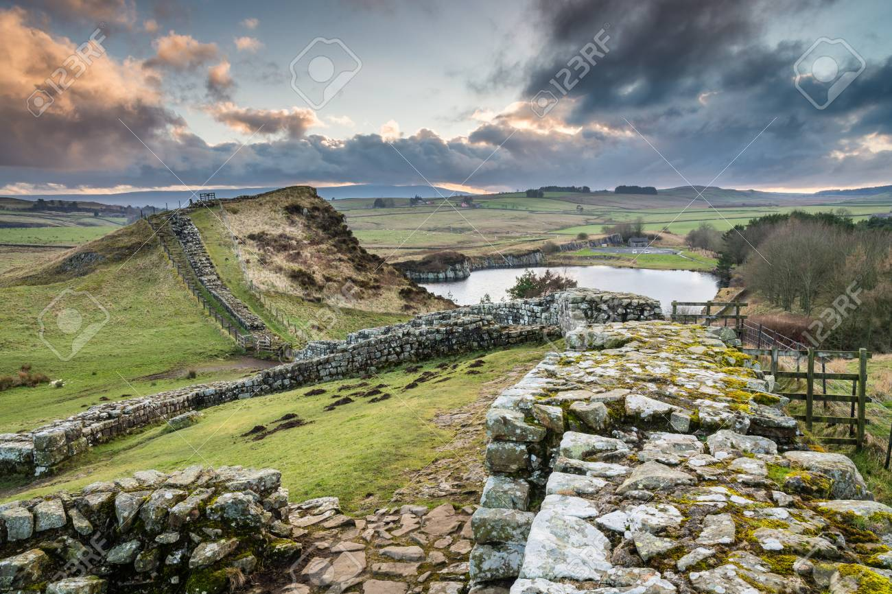 Milecastle 42 on Hadrian's Wall - The Pennine Way walking trail joins the Roman Wall at this section - 54627335