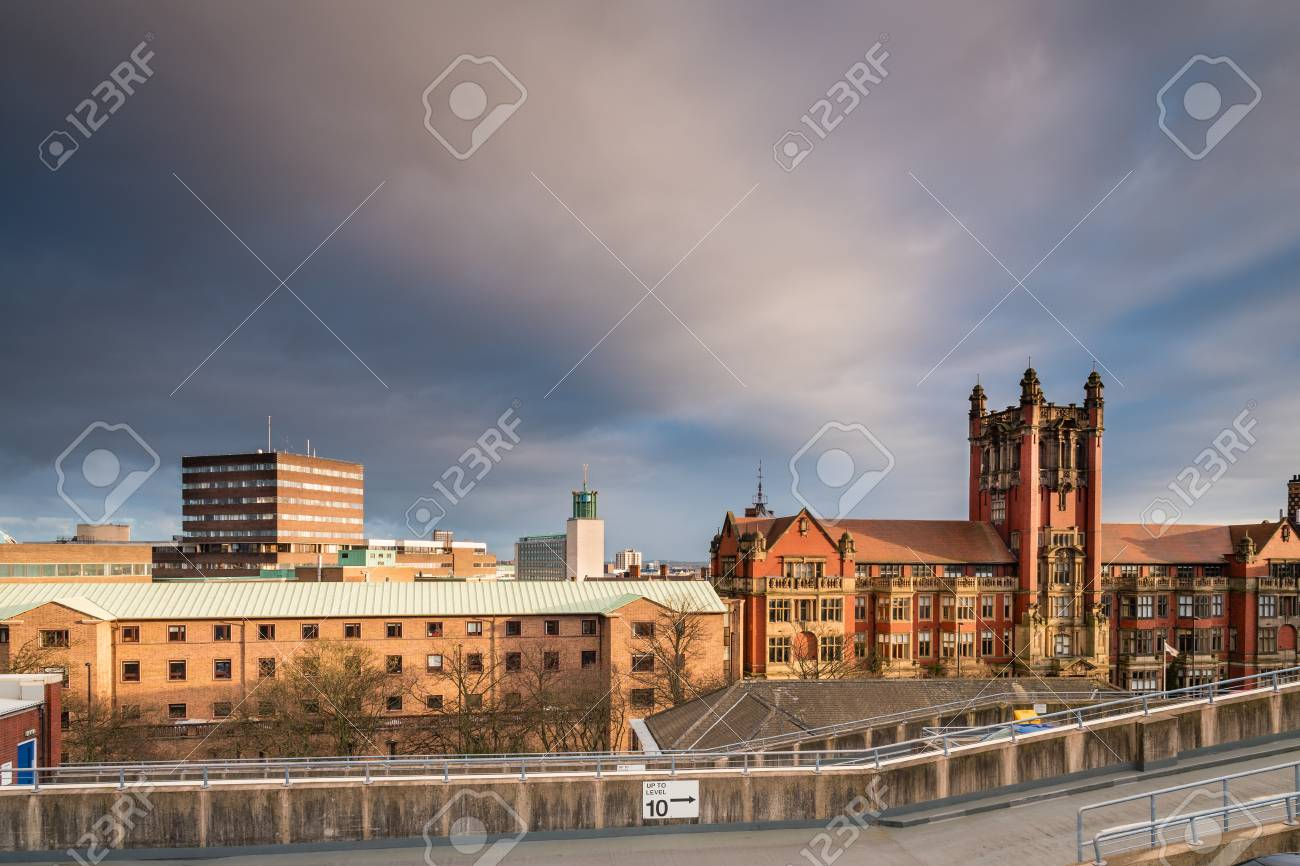 Newcastle University Skyline, in the city centre, with the rooftops of Newcastle University and the Civic Centre beyond - 69432460