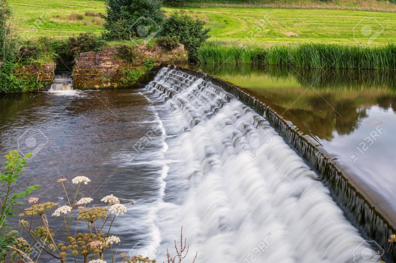 River Aln Weir and Fish Pass, the river running through Northumberland from Alnham to Alnmouth. Here below Alnwick is one of the weirs along its length - 84056129