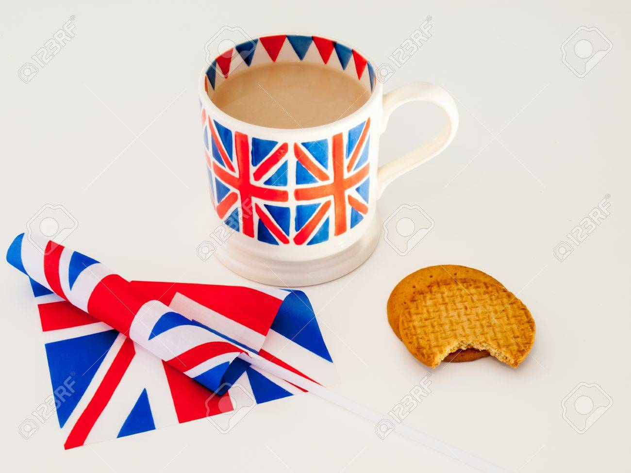 a cup of milky english tea in a british union jack mug with