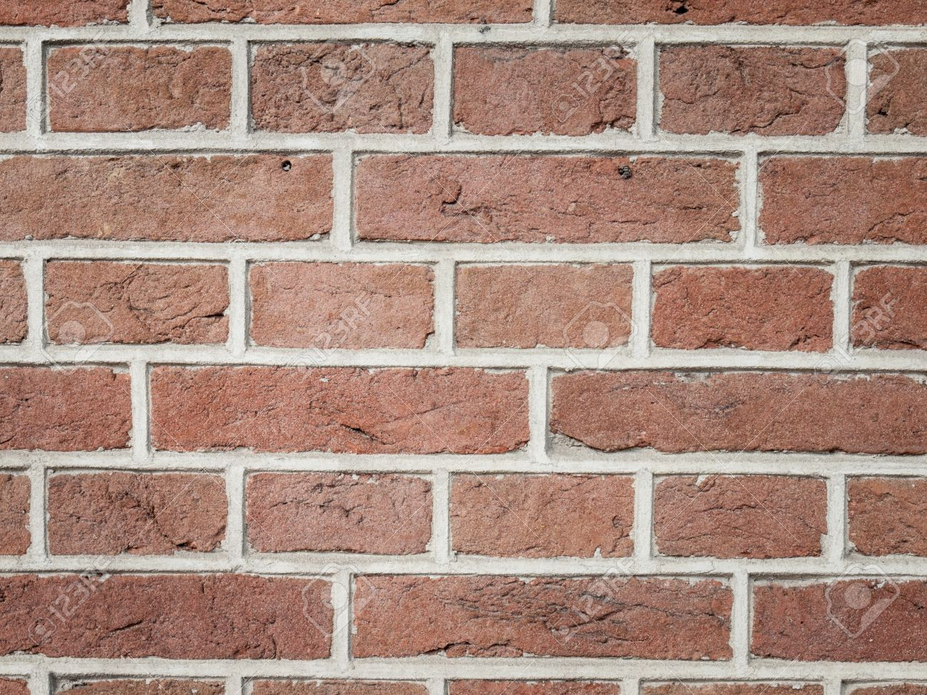 Closeup Of Red Brick Wall Pointed With Light Grey Mortar Foto De Archivo