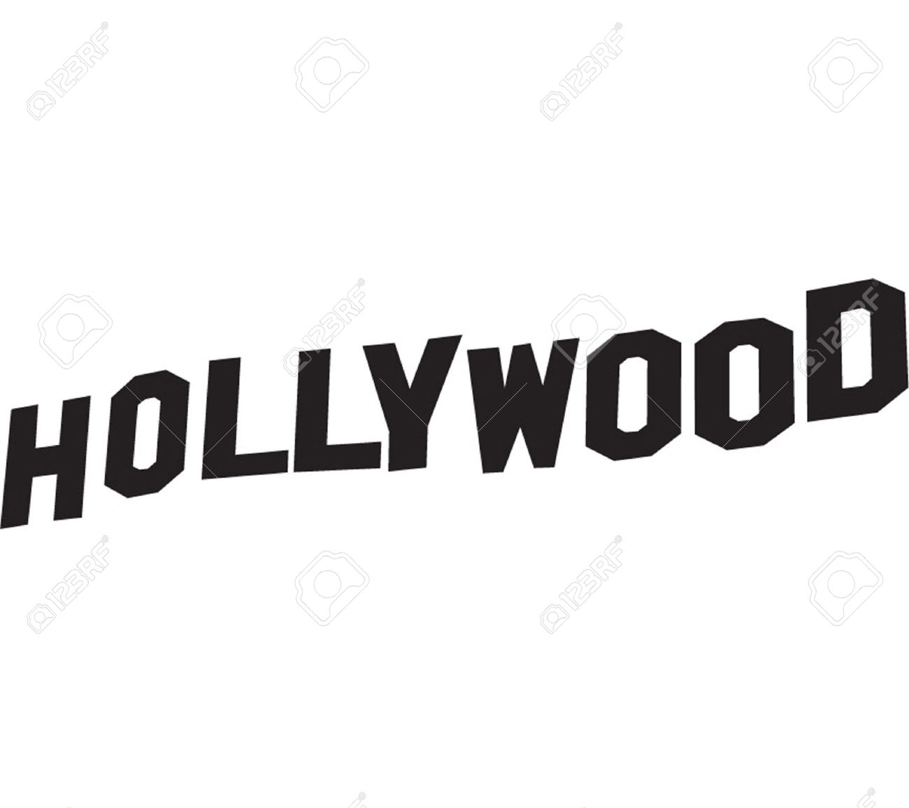 Hollywood Sign Lettering In Vector Black Stock