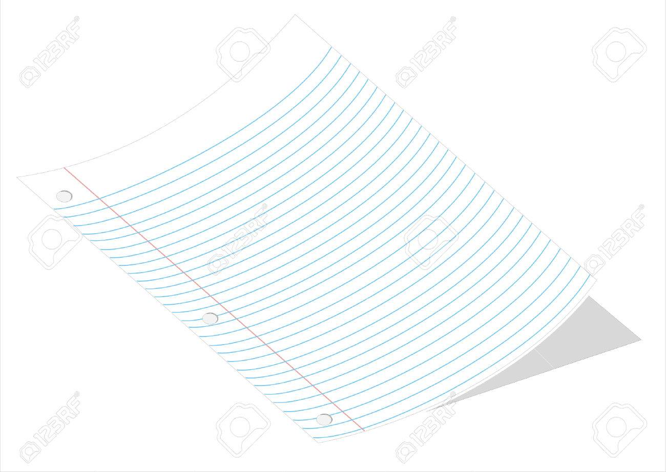 A Vector Illustration Of A Curved Piece Of Loose Leaf Paper – Loose Leaf Paper Background