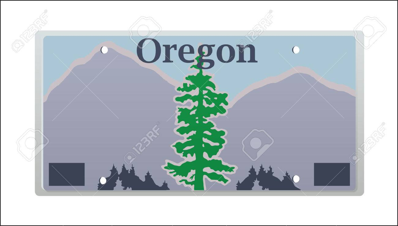 illustration rendition of the oregon state license plate royalty