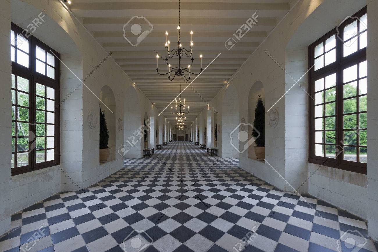 CHENONCEAUX, FRANCE - APRIL 2014; Interior Of The Chateau De.. Stock ...