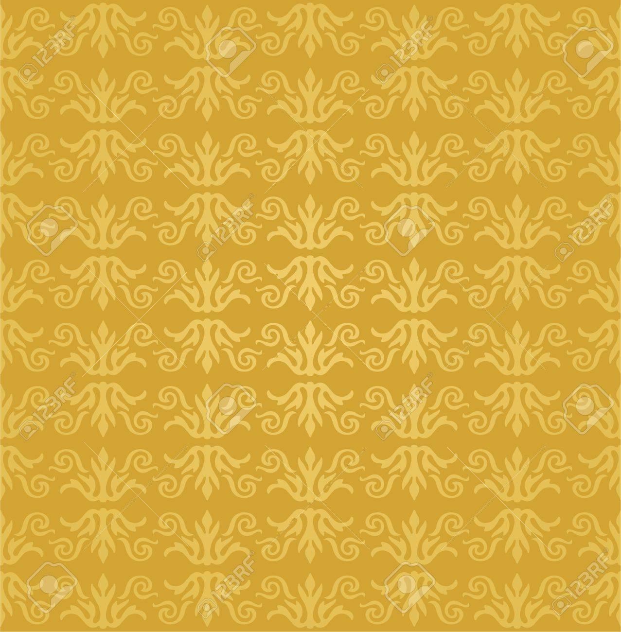 Seamless Golden Floral Wallpaper Pattern Stock Vector