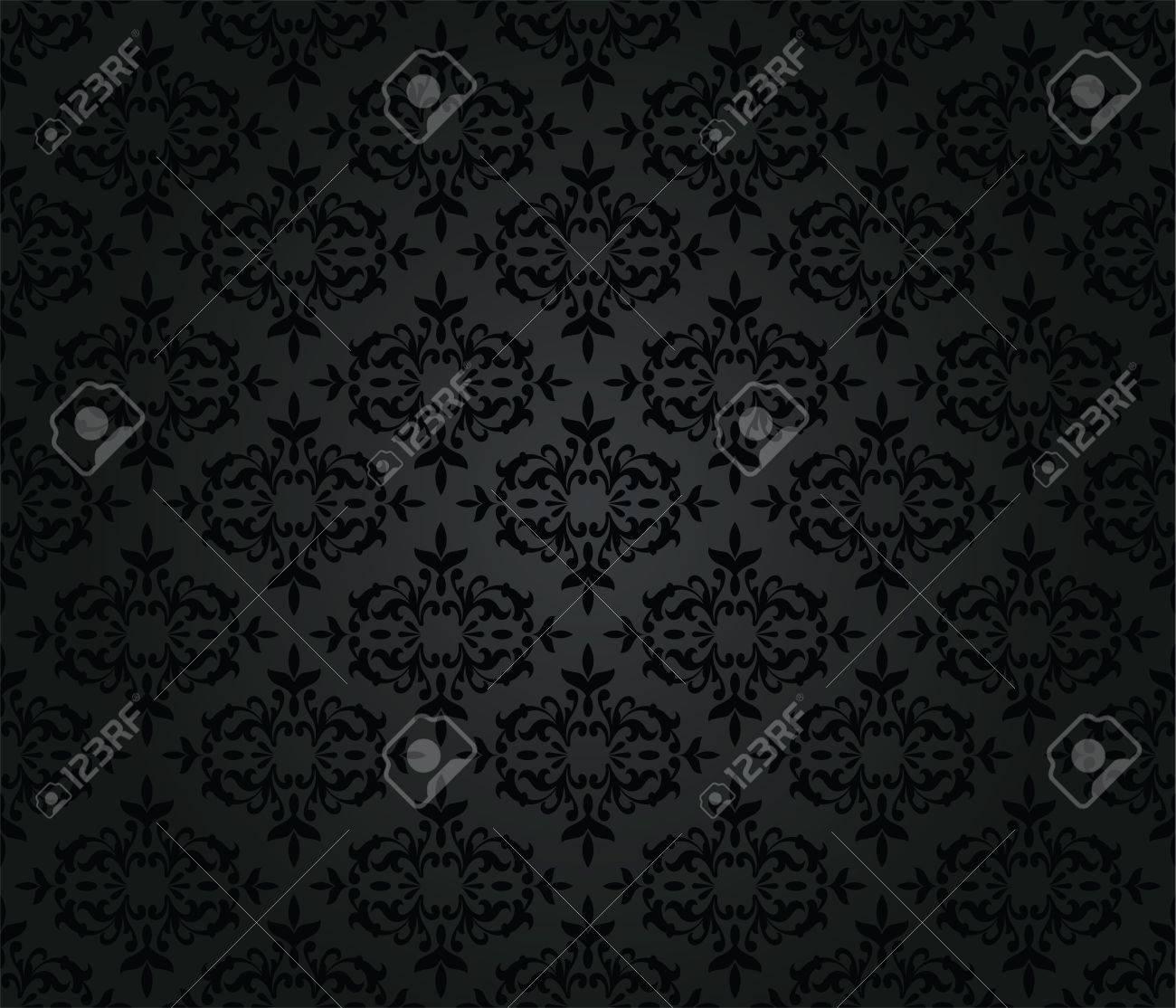 Seamless Floral Motif De Papier Peint Noir De Damasse Clip Art