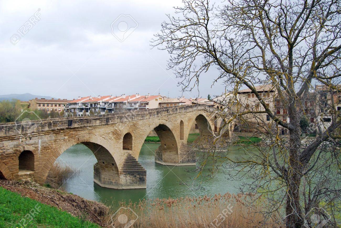 Overview of Puente de la Reina  Navarre Stock Photo - 16587037