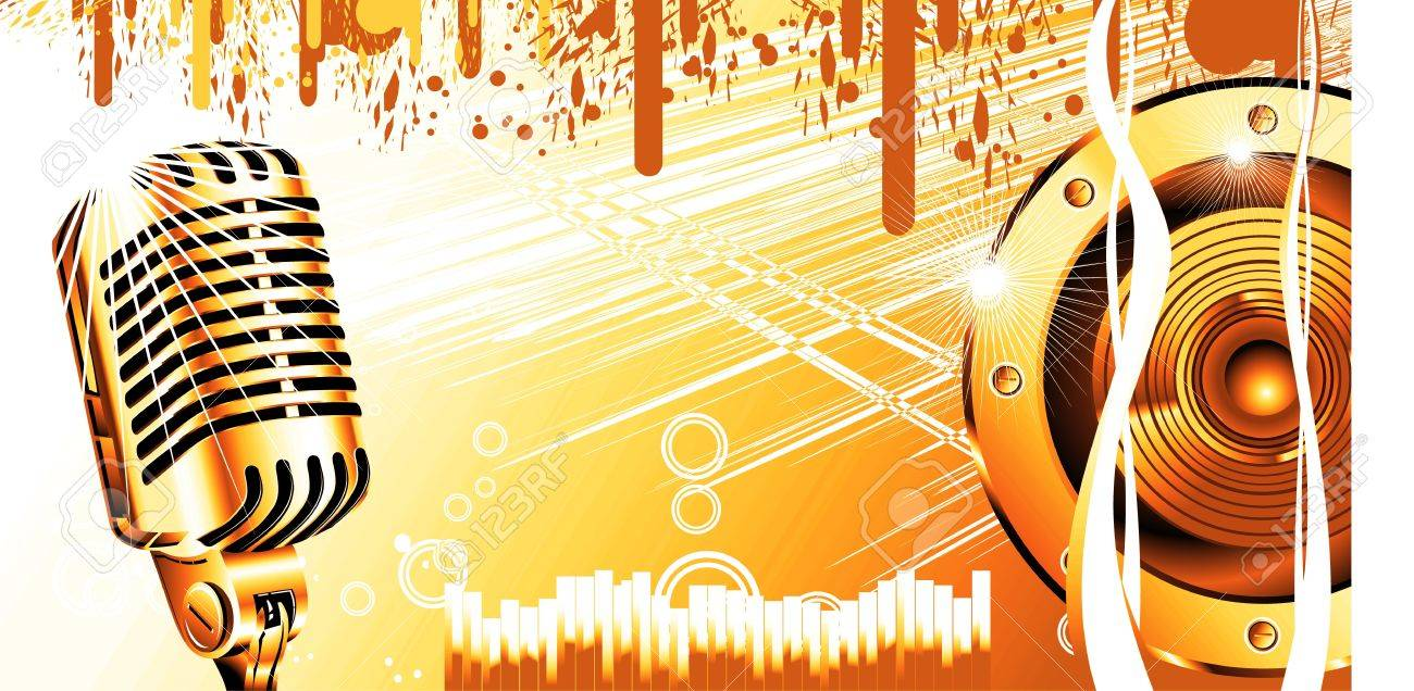Abstract Music Background With Old microphone Stock Photo - 4774467