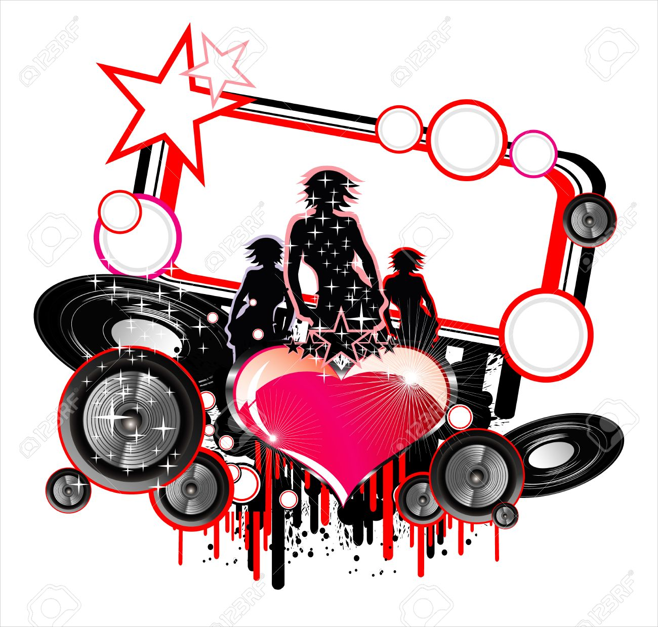 Girls and Love music event frame background Stock Vector - 4896767