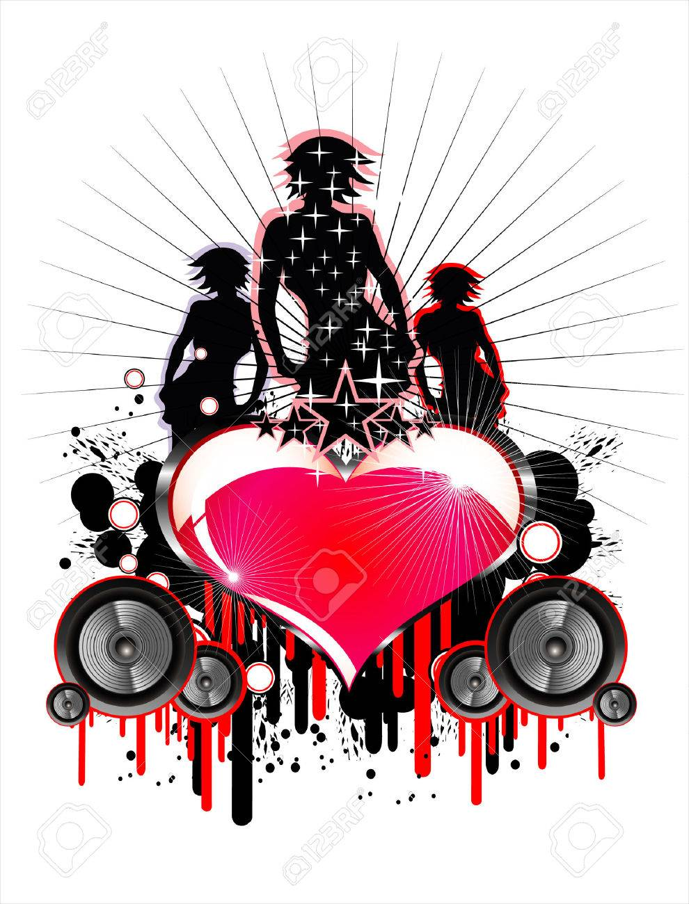 Girls and Love music event frame background Stock Vector - 4896616