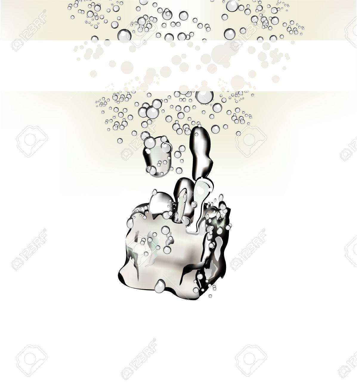 An Ice Cube falling in the water CARD Stock Vector - 4897396
