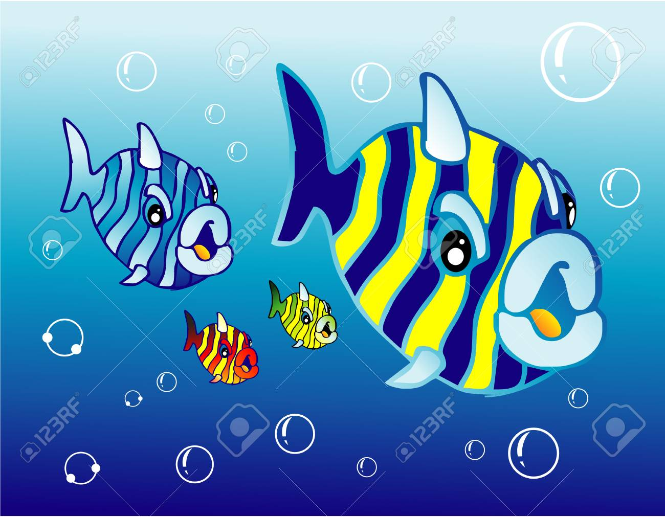 A set of funny cartoon fishes Stock Vector - 4896981