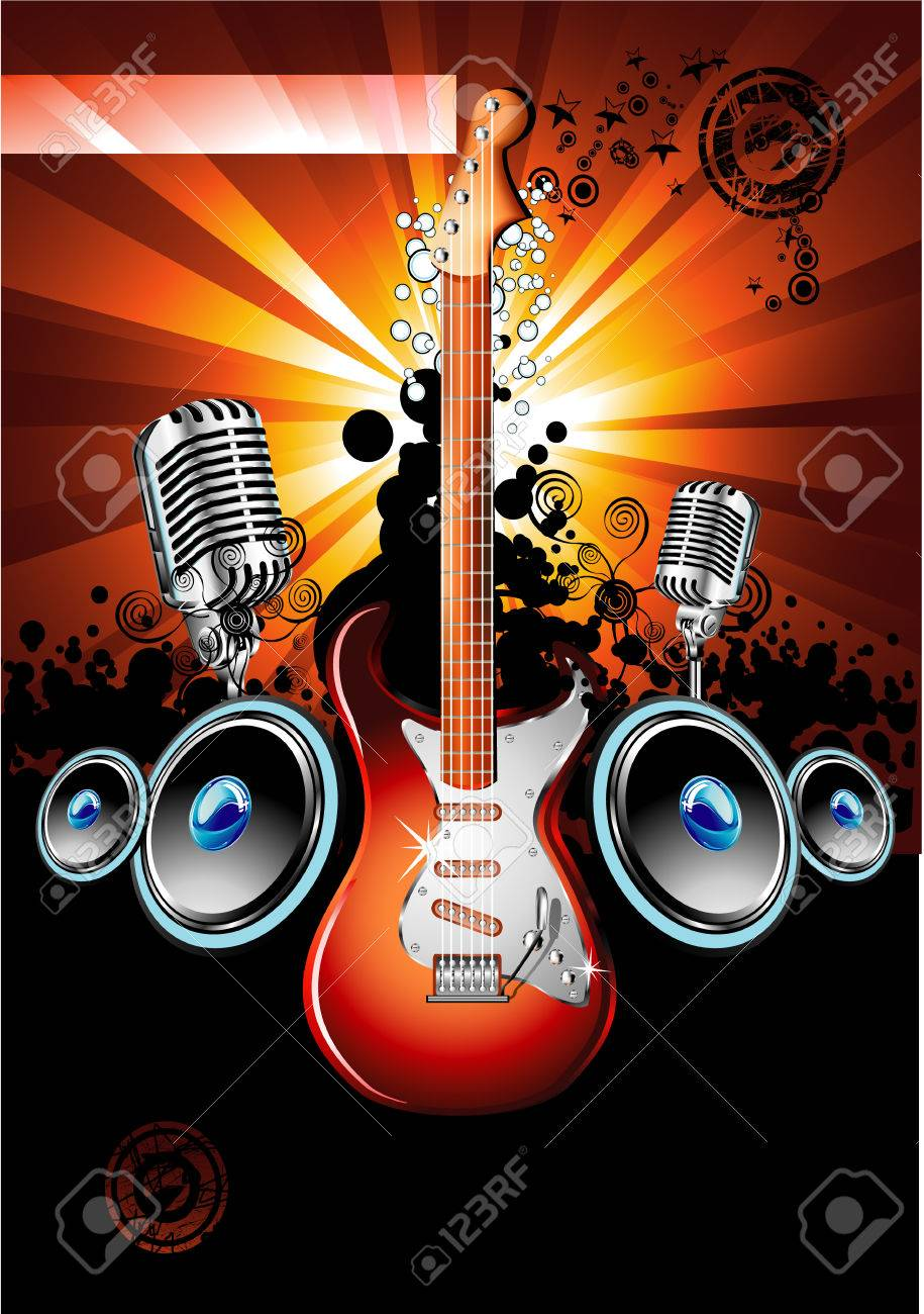 Music Event Background with a colorful Electric Guitar Stock Vector - 4897347