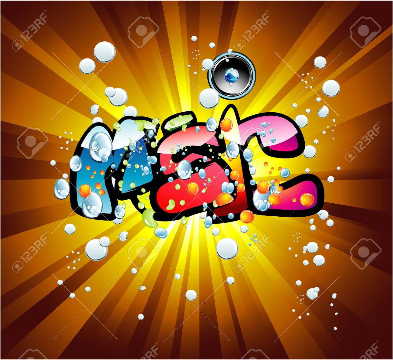 Abstract Colorful bubbles and music text background Stock Vector - 4897286