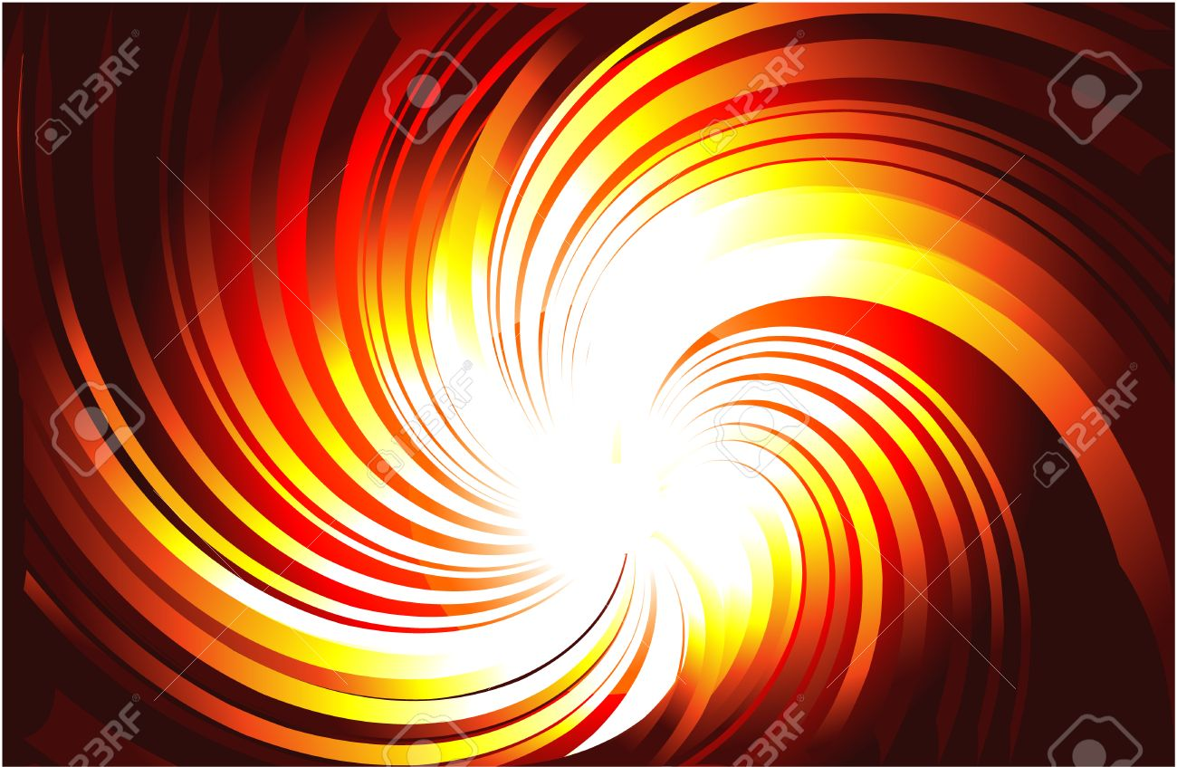 Vortex of Yellow and Red Burning Light Rays Stock Vector - 4896895
