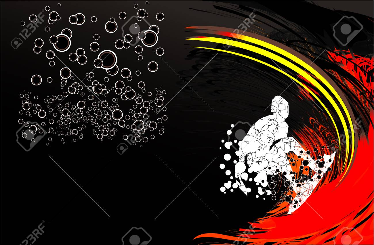 Dirt Style Surfers Card Background Stock Vector - 4897261